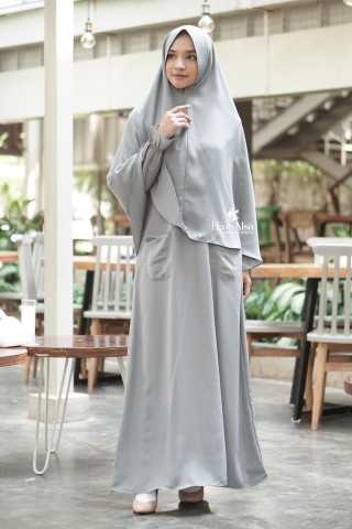 Gamis Basic Jihan Dusty Grey Hijab Alsa
